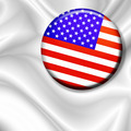 Usa Flag Button Badge on White Silk - PhotoDune Item for Sale