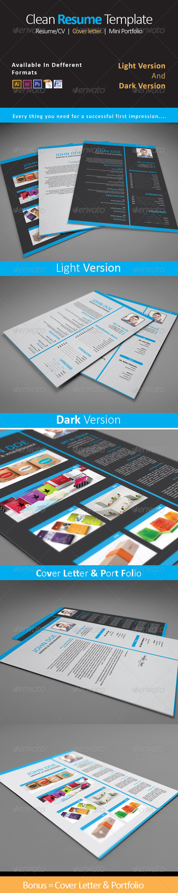GraphicRiver Clean Resume CV Template 3 8118859