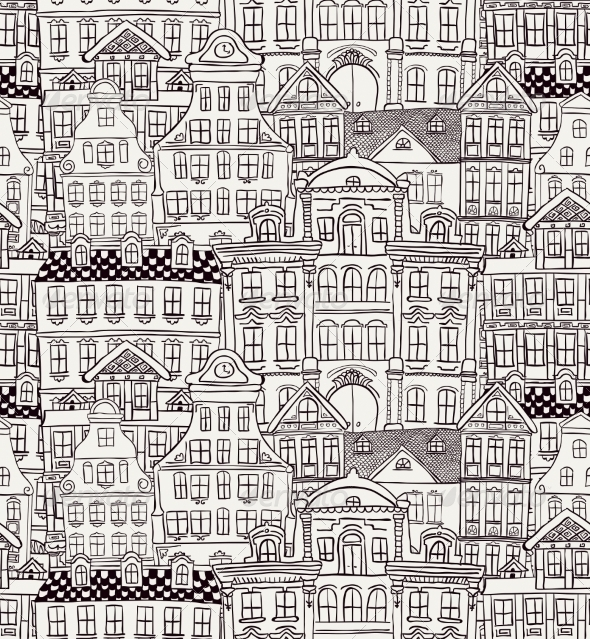 GraphicRiver Old Styled Houses Seamless Pattern 8119826