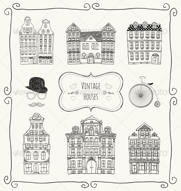 GraphicRiver Vector Vintage Old Styled Houses 8119831