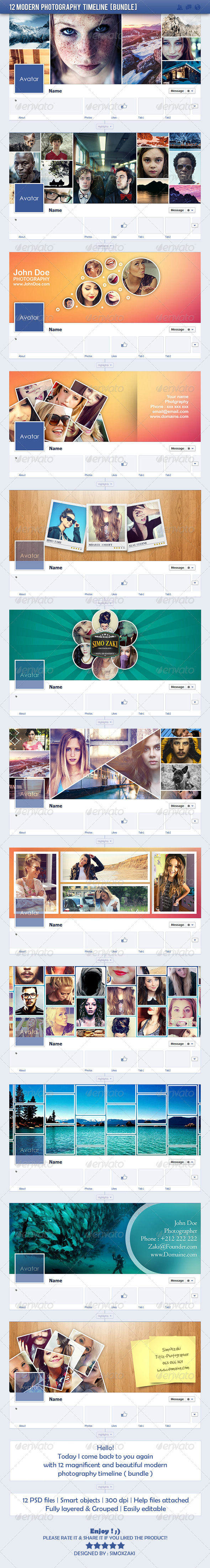 GraphicRiver 12 Modern Photography Timeline Bundle 8120161