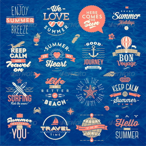 GraphicRiver Set of Travel and Summer Vacation Type Design 8120493