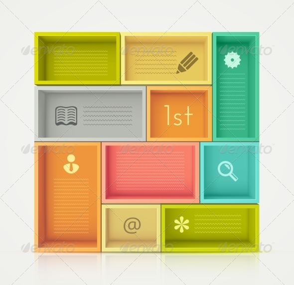 GraphicRiver Colorful Shelves for Design 8120539