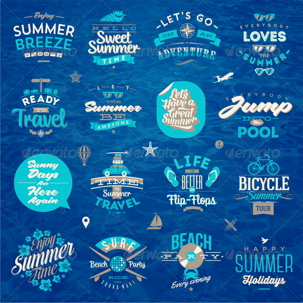 GraphicRiver Set of Travel and Summer Vacation Type Design 8120566