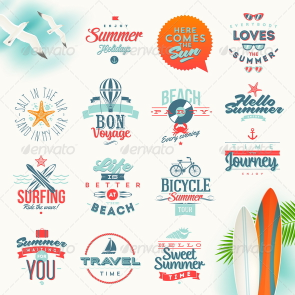GraphicRiver Set of Travel and Summer Vacation Type Design 8121345