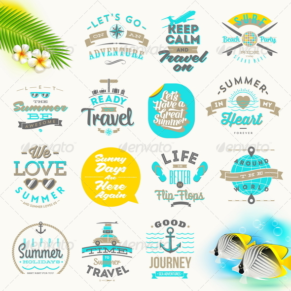 GraphicRiver Set of Summer Vacation and Travel Type Design 8121408
