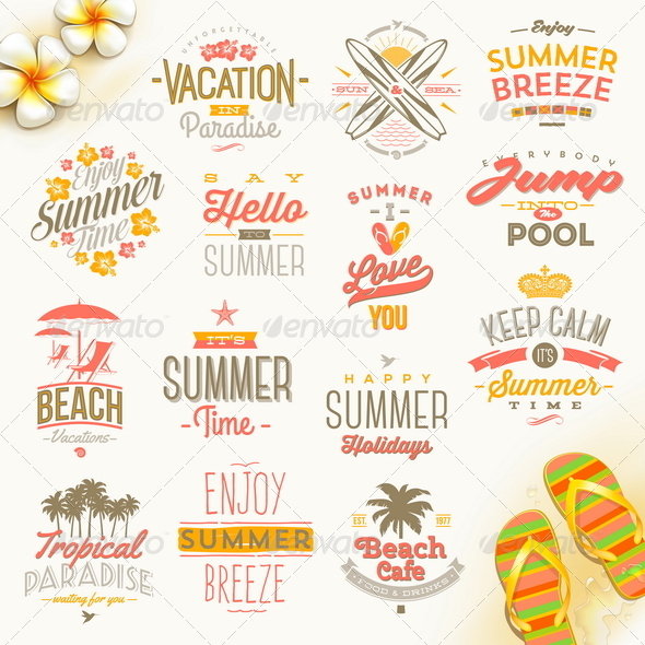 GraphicRiver Set of Summer Vacation and Travel Type Design 8121419