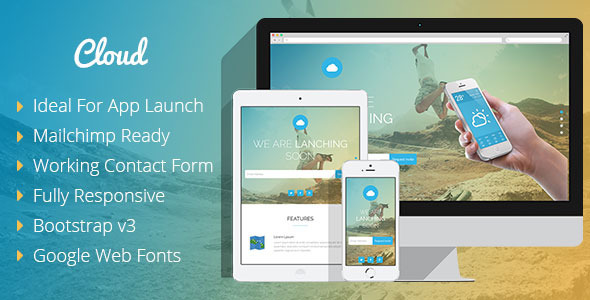 ThemeForest Cloud Mobile App Coming Soon Responsive Template 8121428