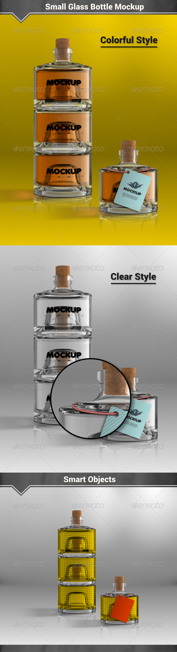 GraphicRiver Small Glass Bottles Mockup 8121976