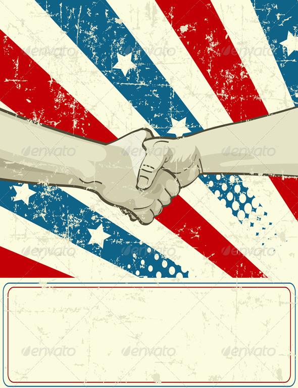 GraphicRiver Patriotic Design with Handshake 8121978