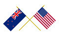 Flags of USA and New Zealand, 3d Render, Isolated on White - PhotoDune Item for Sale