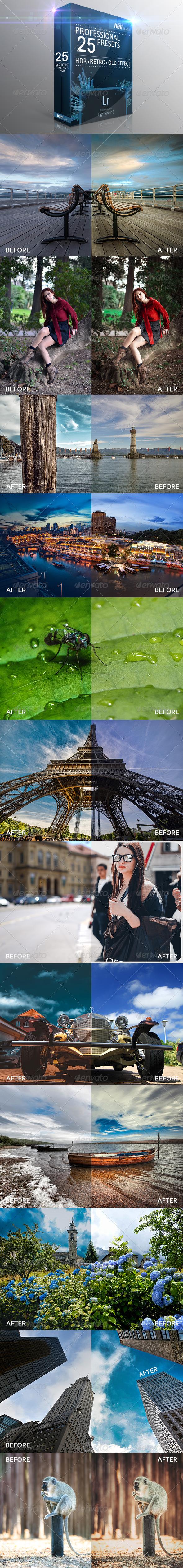 GraphicRiver 25 HDR Retro Old Effect Lightroom Presets 8122864
