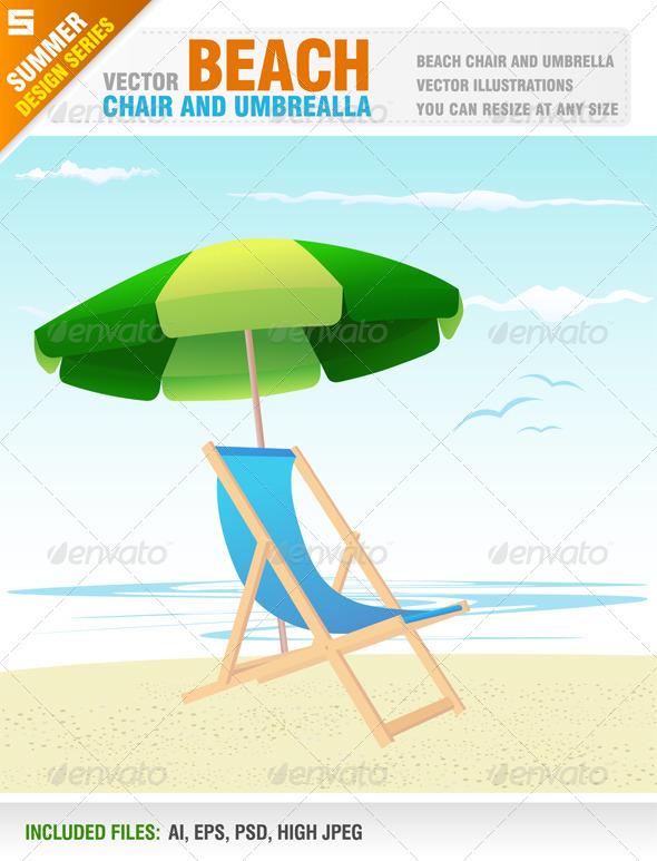 GraphicRiver Beach Chair and Umbrella 8123026