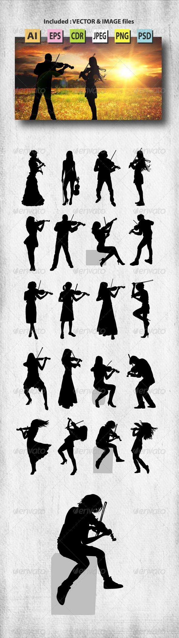 Violinist Silhouettes