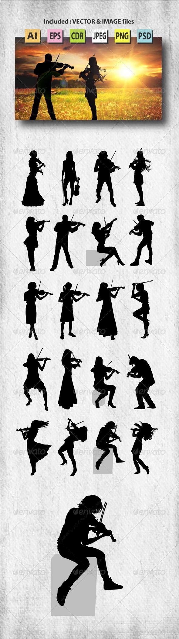 GraphicRiver Violinist Silhouettes 8123093
