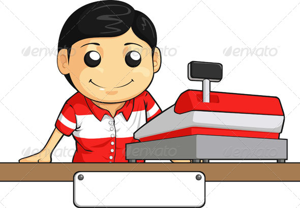 GraphicRiver Cashier Employee with Friendly Smile 8068208