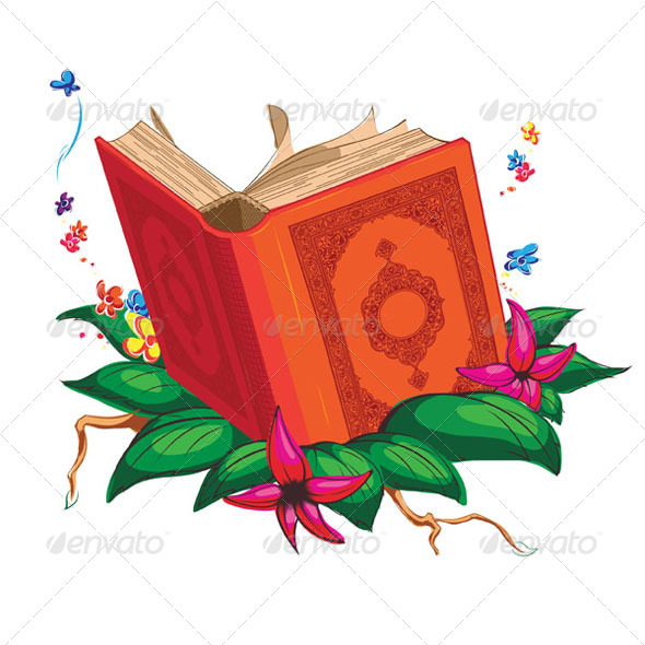 GraphicRiver Holy Book on Leaves Surrounded with Flowers 8071224