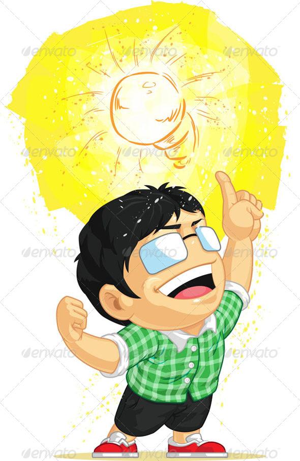 GraphicRiver Kid Having a Shining Light Bulb Idea 8071249
