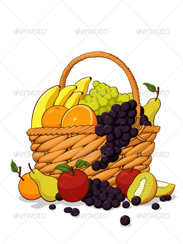 Variety of Fresh Fruits in The Wooden Basket