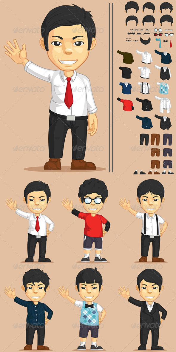 GraphicRiver Office Worker Customizable Character 8123467