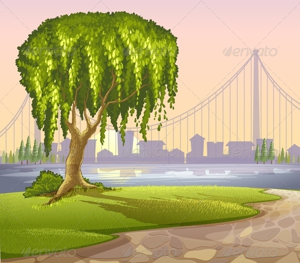 GraphicRiver Tree with High Buildings Background 8123473
