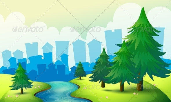 GraphicRiver Flowing River with Trees 8123556