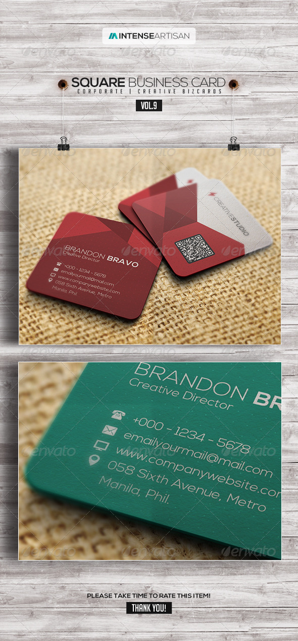 GraphicRiver Square Business Card V.9 8123565