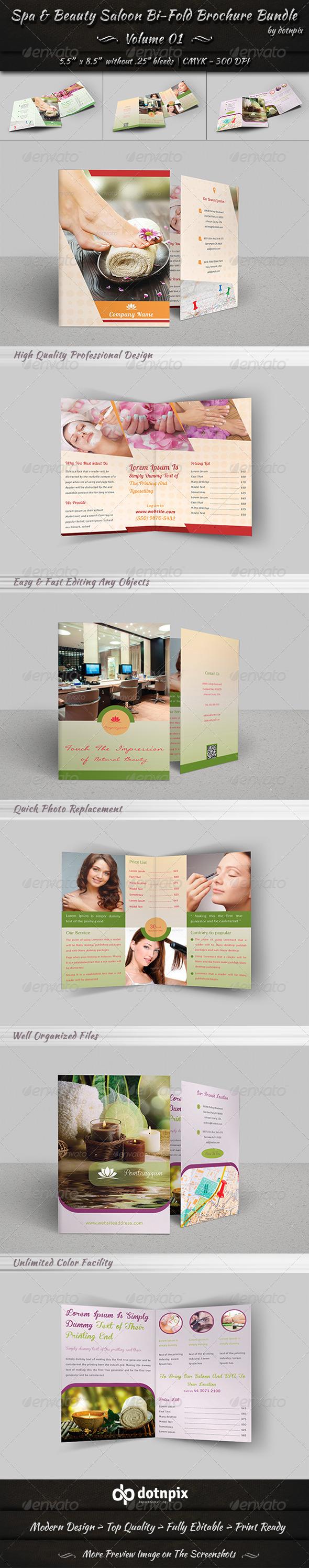 GraphicRiver Spa & Beauty Saloon Bi-Fold Brochure Bundle v1 8118282