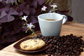 Coffee and cookie on a wood background. - PhotoDune Item for Sale