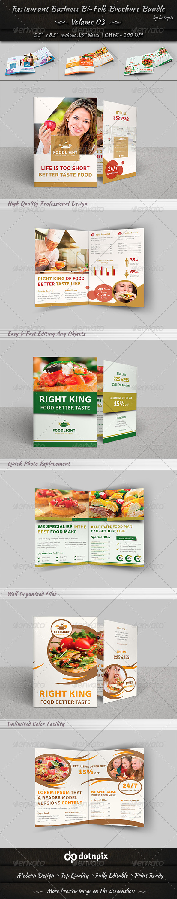 Restaurant Bi-Fold Brochure Bundle Volume 3