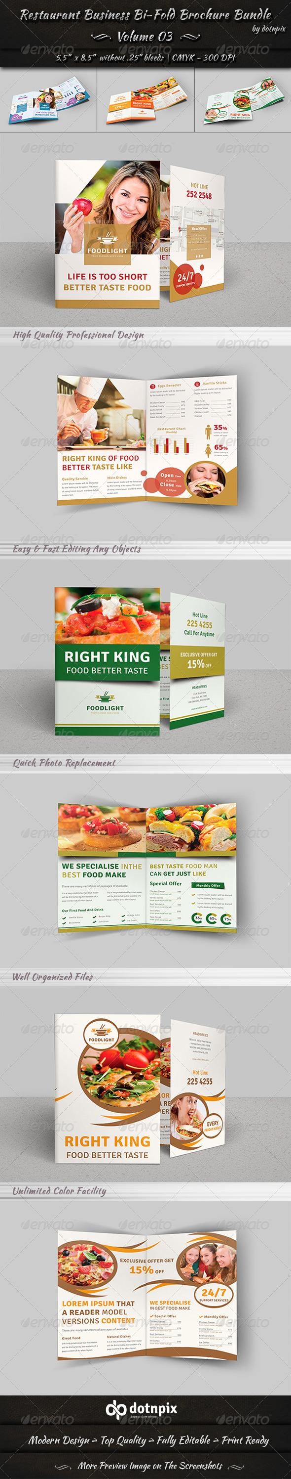 GraphicRiver Restaurant Bi-Fold Brochure Bundle Volume 3 8124098