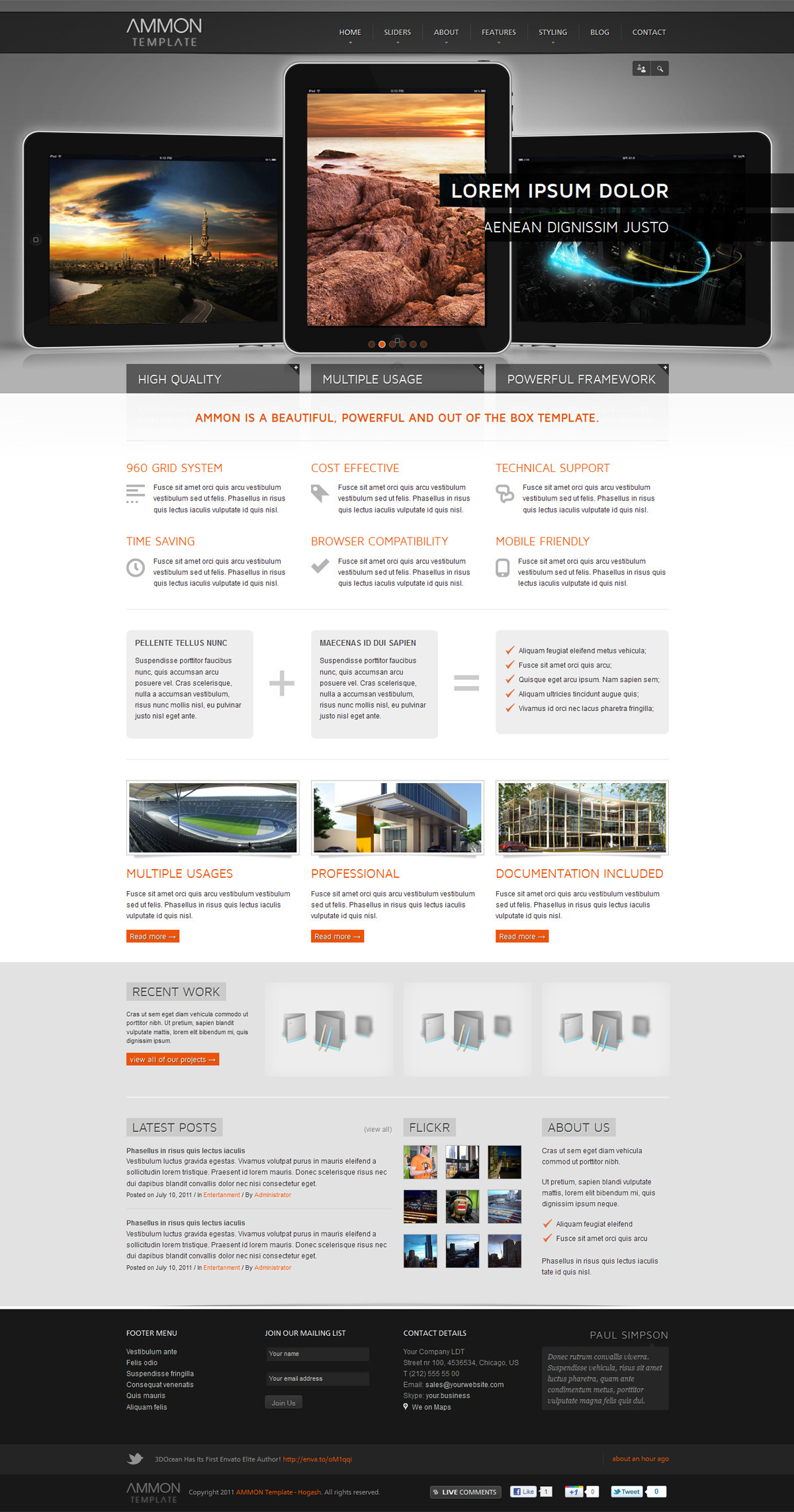 Ammon Responsive Template for Joomla - GENERAL PAGE - HOMEPAGE - FULL SLIDER 2