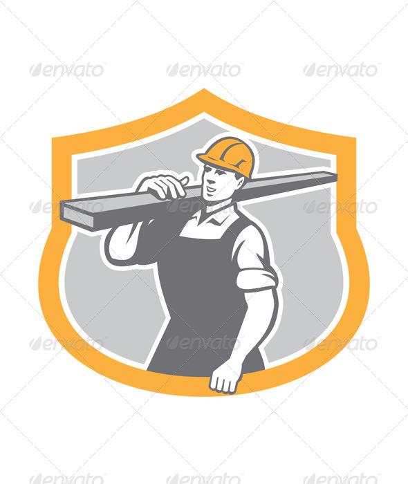 GraphicRiver Carpenter Carry Lumber Shield Retro 8124781