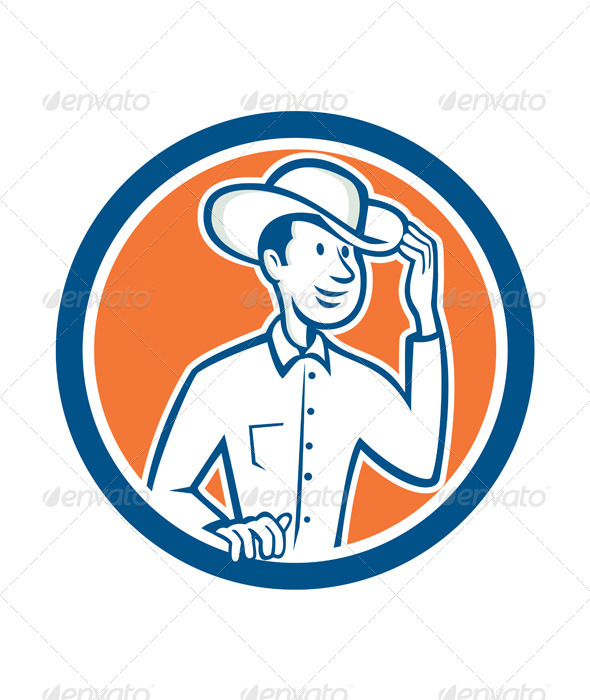 GraphicRiver Cowboy Tipping Hat Circle Cartoon 8124790
