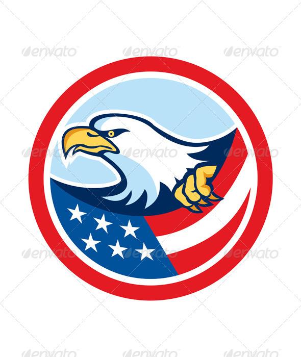 GraphicRiver American Bald Eagle Clutching Flag Circle Retro 8124796