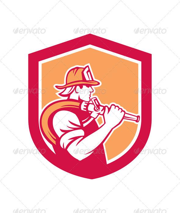GraphicRiver Fireman Firefighter Holding Fire Hose Shoulder 8124821