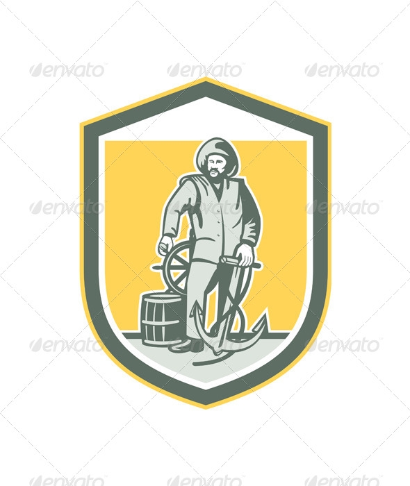 GraphicRiver Fisherman Holding Anchor Wheel Shield Retro 8124823