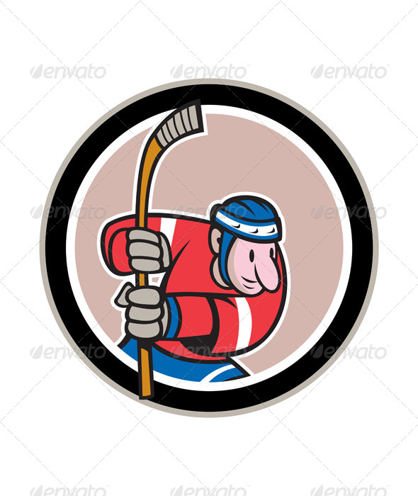 Field Hockey Player With Stick Cartoon