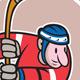 Field Hockey Player With Stick Cartoon