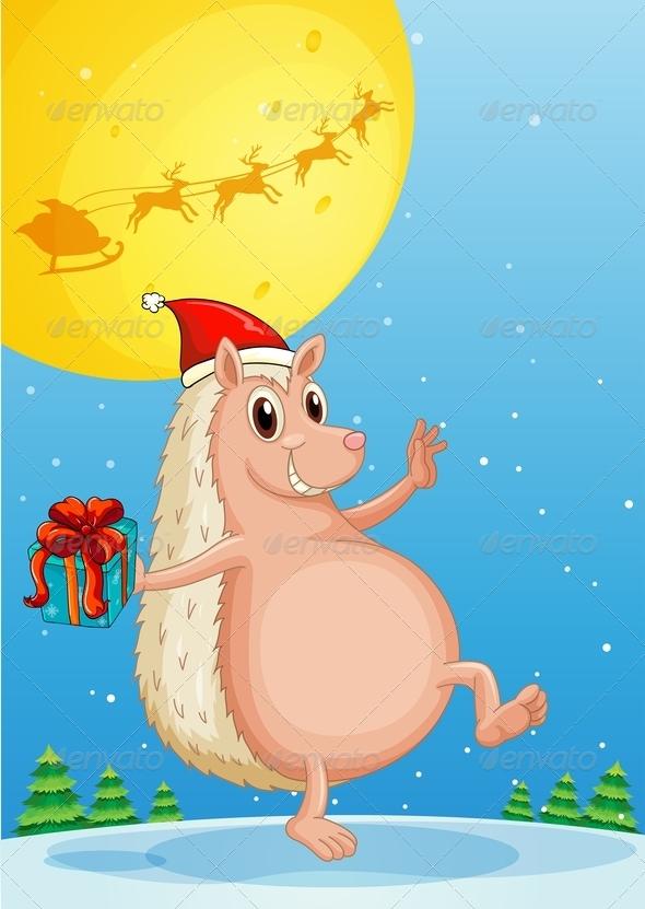 GraphicRiver A Molehog Holding a Gift 8124838