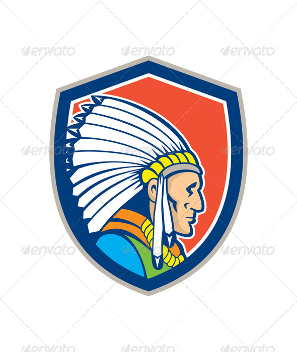 GraphicRiver Native American Indian Chief Cartoon 8124841