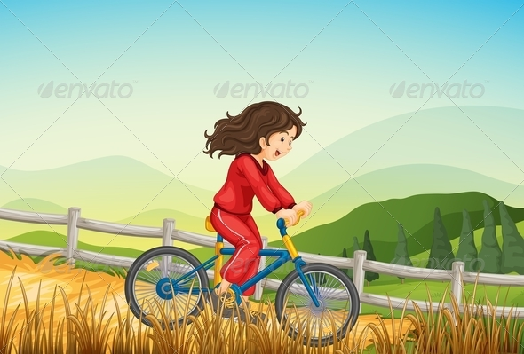 GraphicRiver A Girl Biking at the Farm 8124952