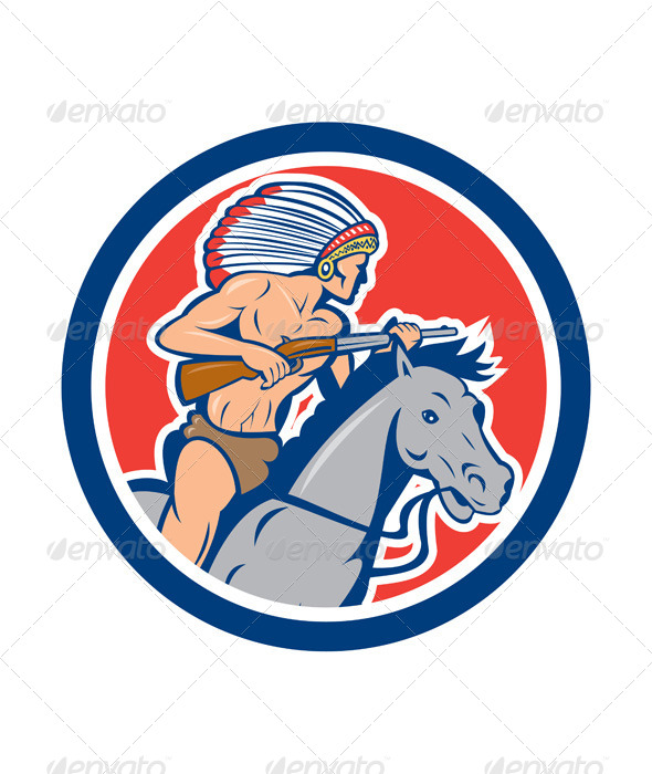GraphicRiver Native American Indian Chief Riding Horse Cartoon 8124957