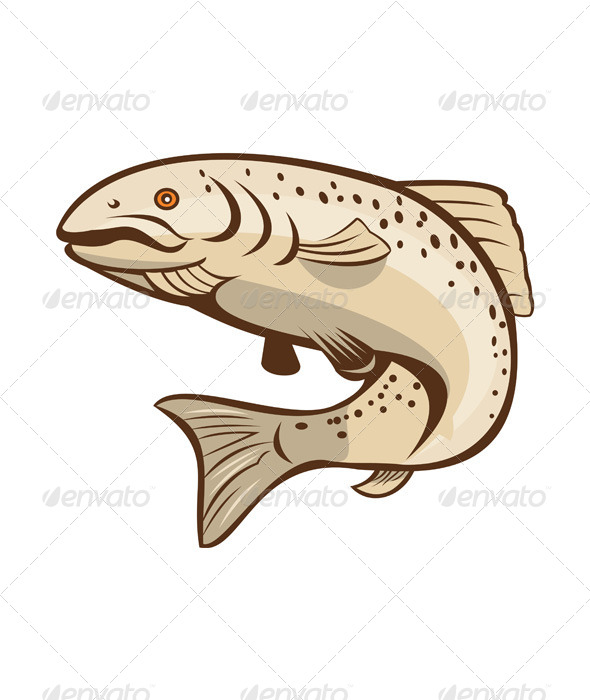 GraphicRiver Rainbow Trout Jumping Cartoon 8125103