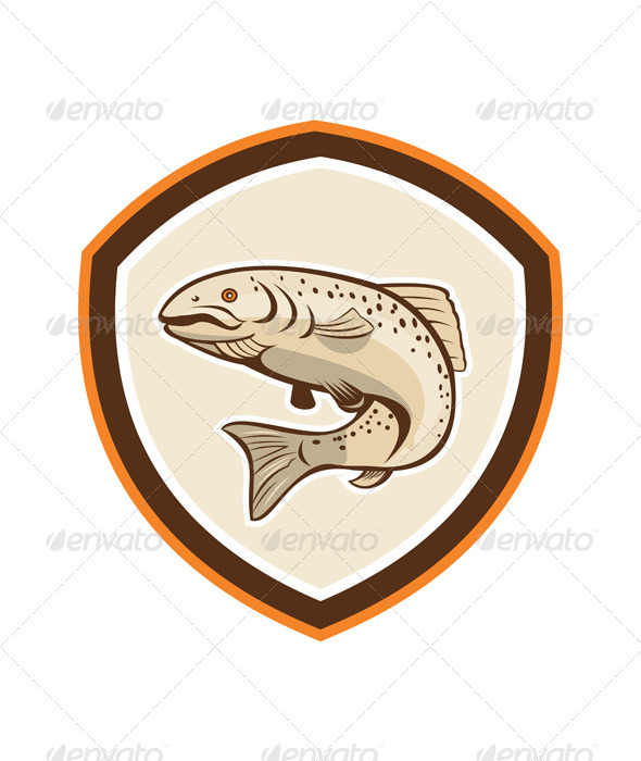 GraphicRiver Rainbow Trout Jumping Cartoon Shield 8125110