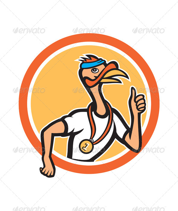 Turkey Runner Thumbs Up Cartoon