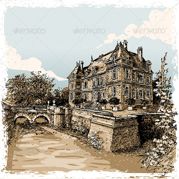 GraphicRiver Vintage View of Chateau de Rosay France 8125316