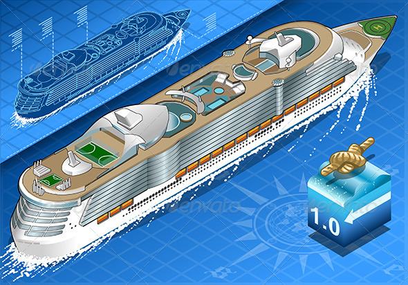 GraphicRiver Isometric Cruise Ship in Navigation in Rear View 8125324