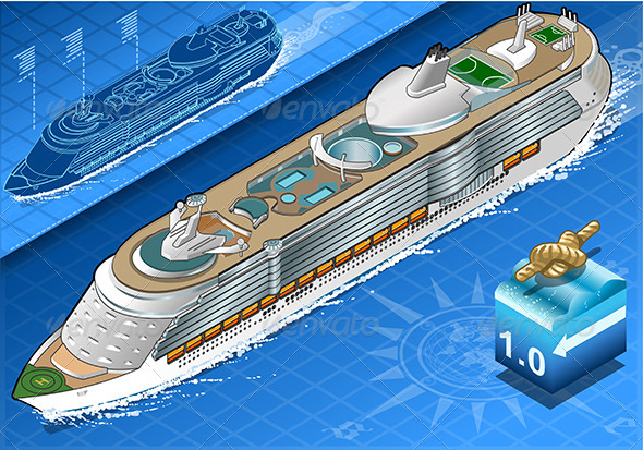 GraphicRiver Isometric Cruise Ship in Navigation in Front View 8125343