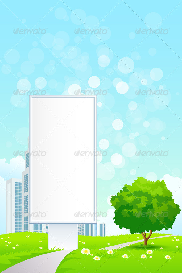 GraphicRiver Empty Billboard and Lonely Tree 8125349